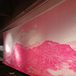 knitted banner of mountains in pink