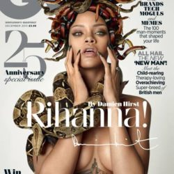 cover of GQ magazine with Rihanna styled as Medusa with snakes for hair and carrying a large snake. Styled by Damien Hirst.
