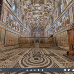 screenshot of the Vatican's virtual tour of the Sistine Chapel, view from doorway