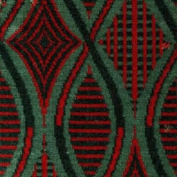 moquette pattern in dark green, red and black