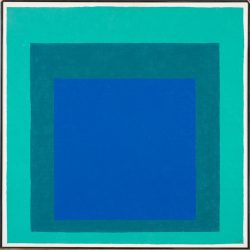 Three concentric squares in different shades of blue