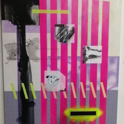 Pink stripes on lilac background, black marks and small yellow diagonals as well as what appears to be letterbox
