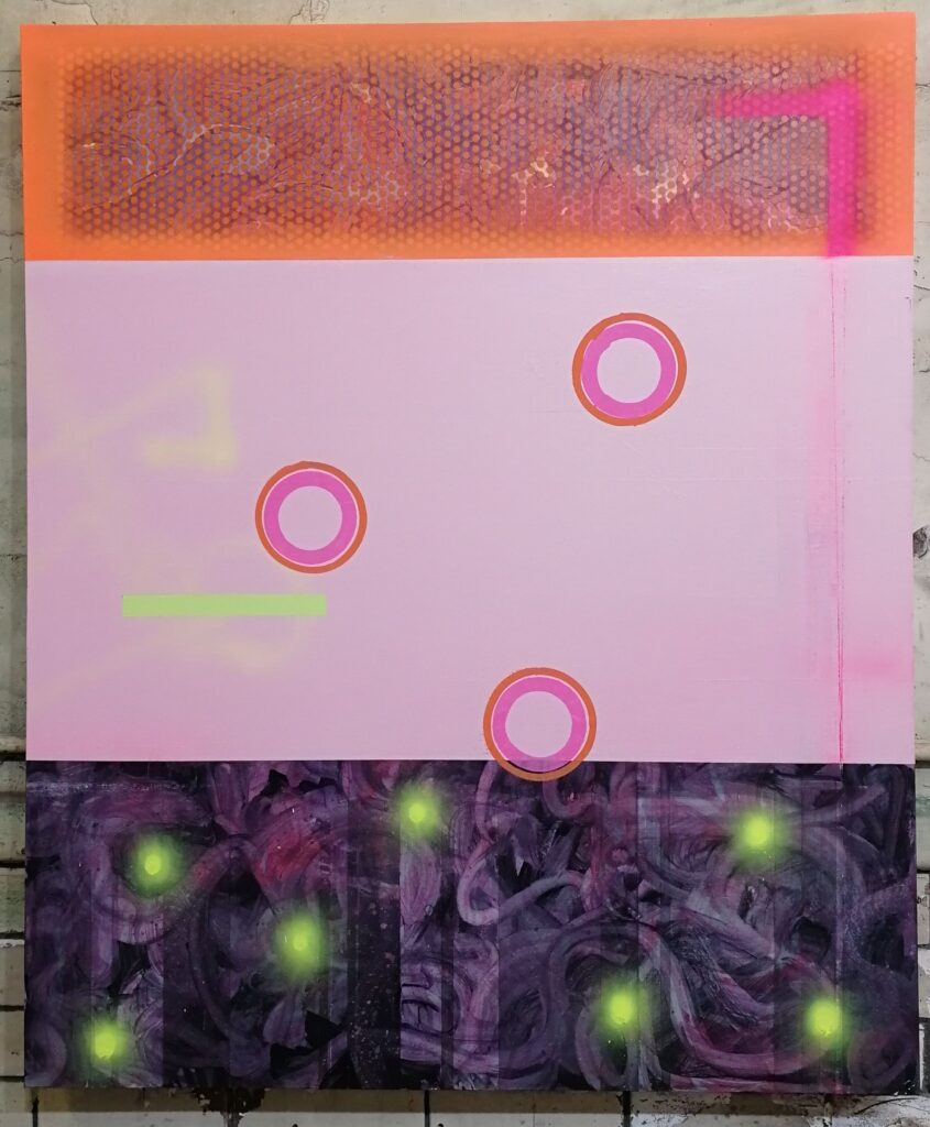 Pinks and purple with circles, bright spots on bottom part which look like lights.
