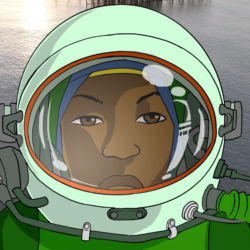 animated face of a Black astronaut in a green space suit in front of a background which is a film of the ocean with the sun reflecting on it.