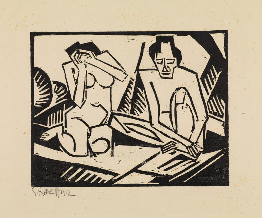 black & white woodblock print of two figures, one may and one woman, sitting on the ground. The woman has her hands over her face.
