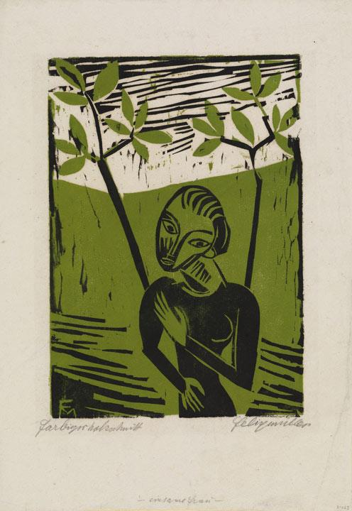 Green background with two trees, woman in black printed on front. Her face is based on masks,