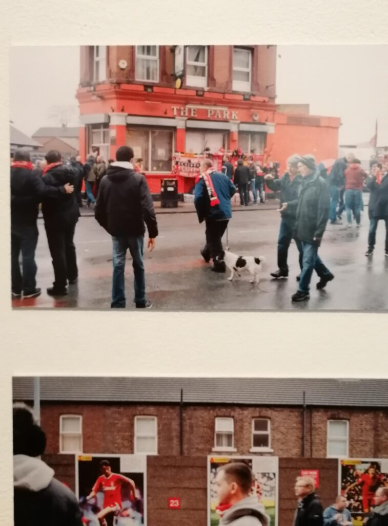 Two photos - one of people walking past The Park pub on a LFC matchday, and the heads of people walking down the road to the game.