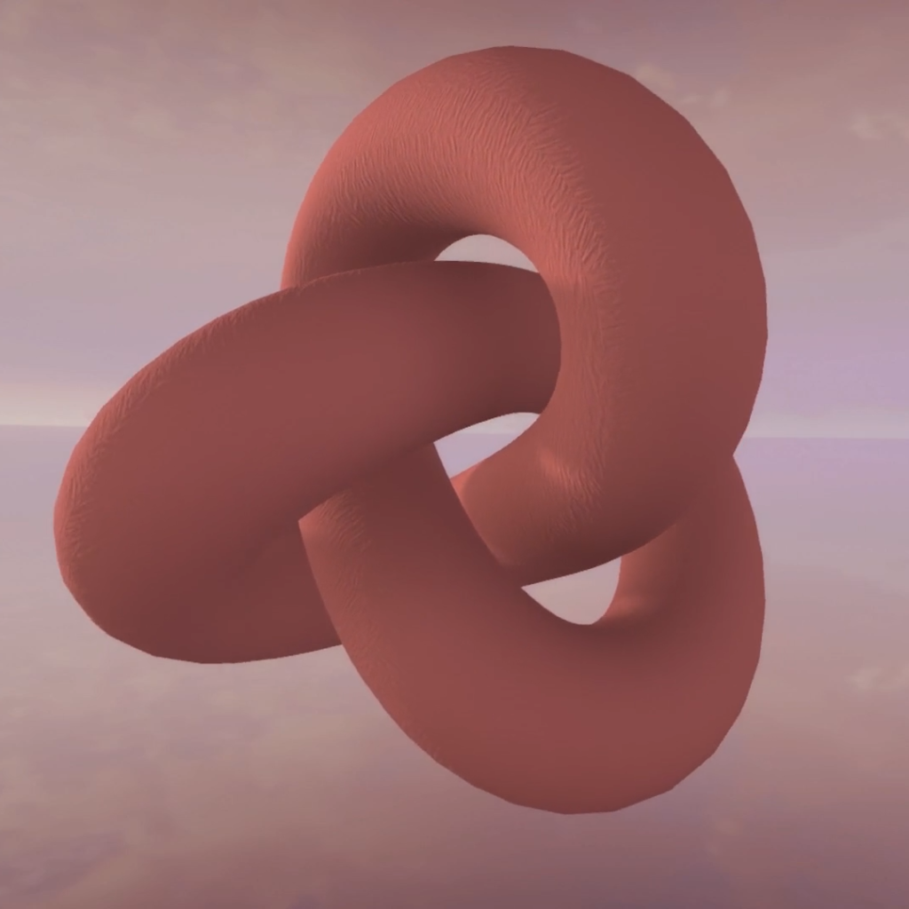 A computer graphic shape which looks like a twisted pool noodle in salmon pink tied into 3 loops like a pretzel.