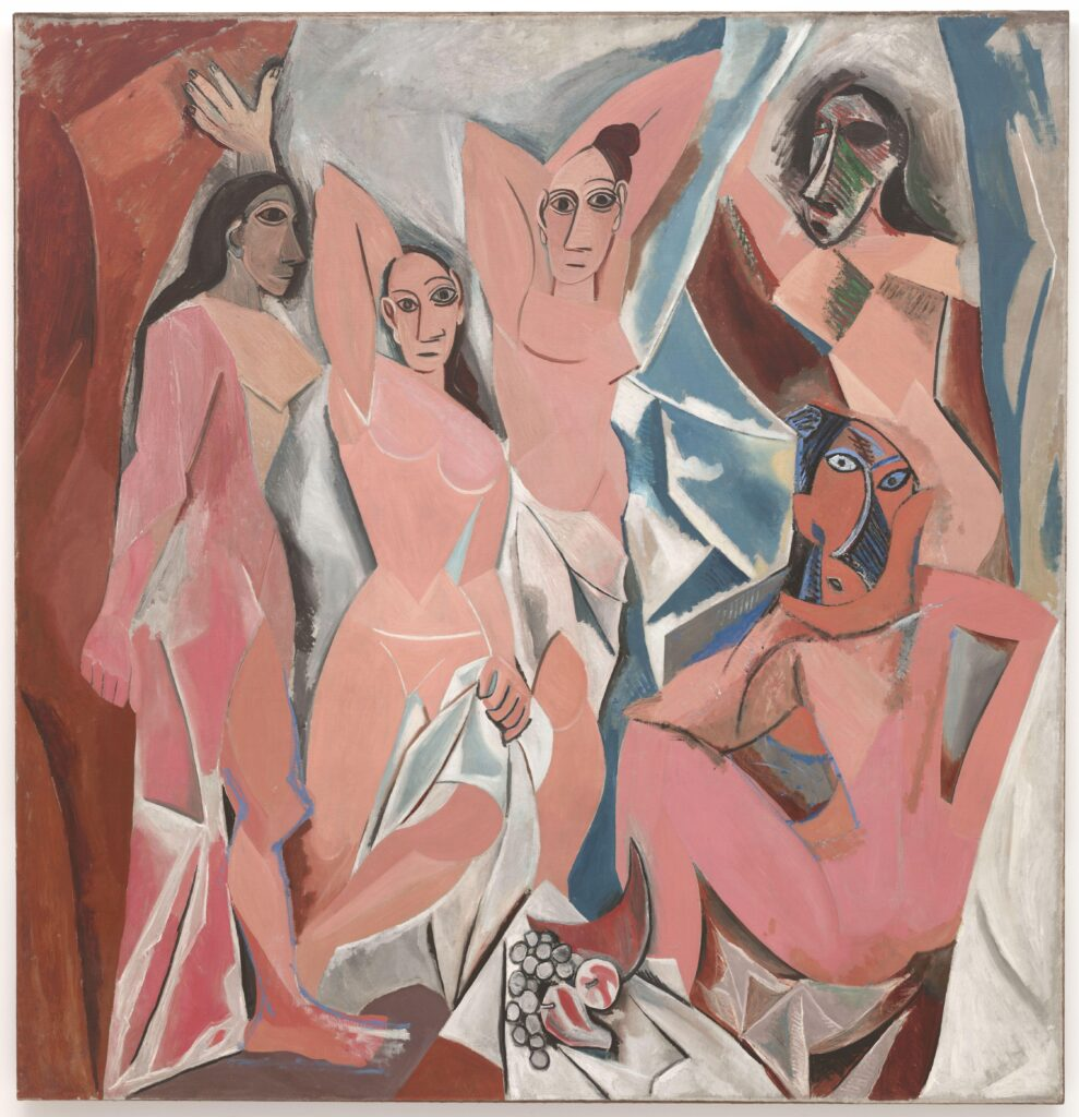 "Picasso's ""Demoiselles d'Avignon"" is a painting of five nude women believed to be prostitutes. They're painted in pink and in a Cubist style - eyes all facing us, bodies slightly abstracted in shape. At least two women have faces borrowed from African masks. The background is a collection is abstract shapes and colours."