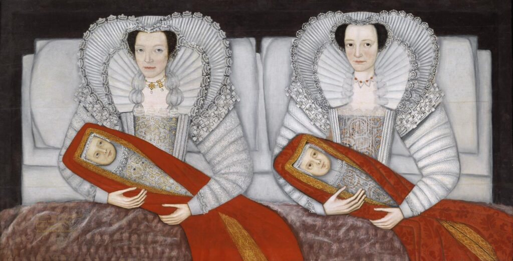 two identically dressed Jacobean women  sitting fully dressed side-by-side in bed, each holding an identically dressed baby wrapped in red. Postures are identical.