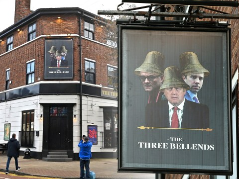 """A pub sign reading """"The Three Bellends"""" with Boris Johnson, Matt Hancock and Dominic Cummings each with a bell on their head."""