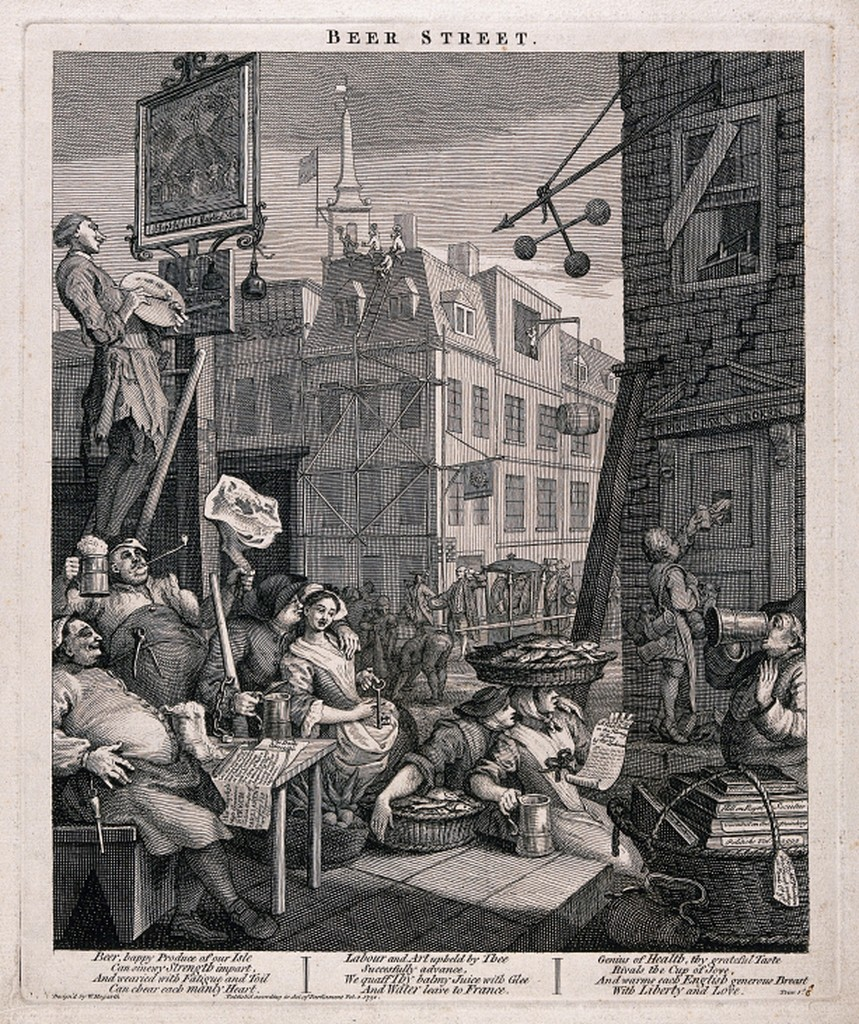 a black and white etching of a street cornet with lots of people sitting in the street, chatting, eating. A man is painting a pub sign on a pole.