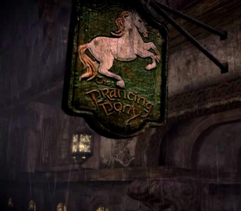 a pub sign of the Prancing Pony inn, a green background with a white horse on it. From Lord Of The Rings.