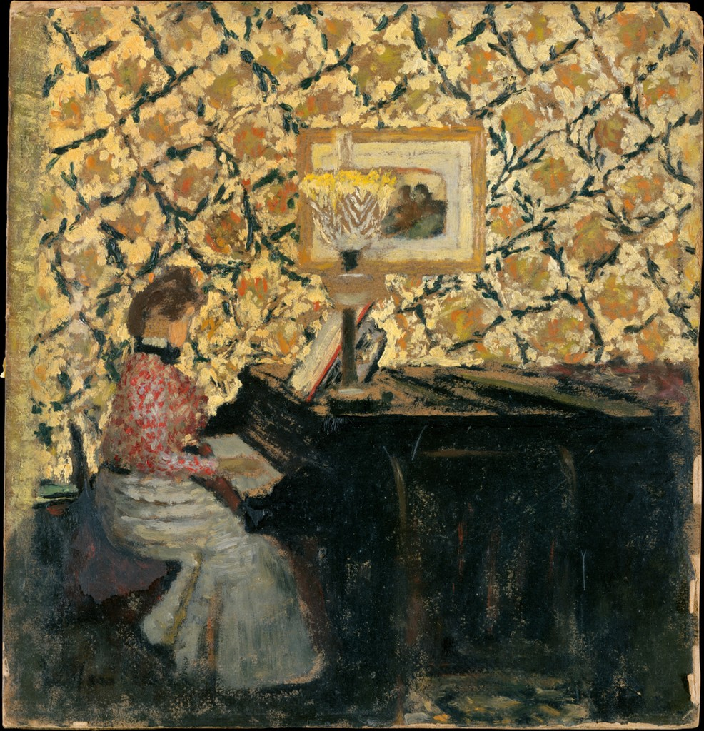 impressionist painting of a woman playing a grand piano. It'd a side-view and behind her is a patterned, yellow, floral-type wallpaper