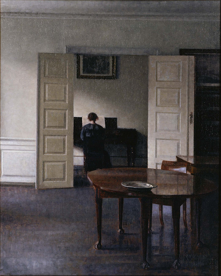 painting of looking through a room and an open door at the back of a woman playing the piano.