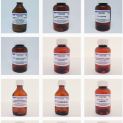 Screenshot of an Instagram grid show 3 rows of 3/ All the images are pill bottles and each label is printed with a different piece of advice.