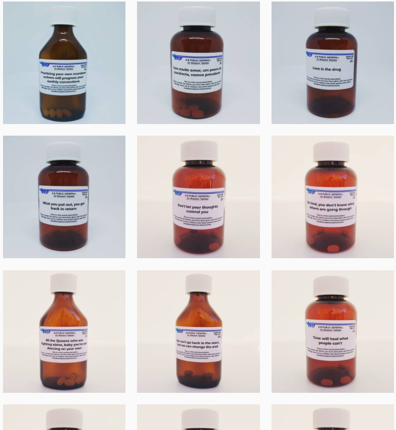 Screenshot of an Instagram grid show 3 rows of 3, of the Social Prescription Pharmacy. All the images are pill bottles and each label is printed with a different piece of advice.