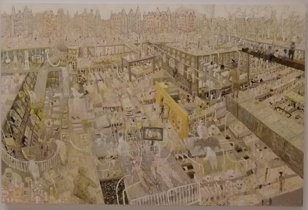 A large and detailed painting of an urban scene, sort of looking into a hospital, in light colours.