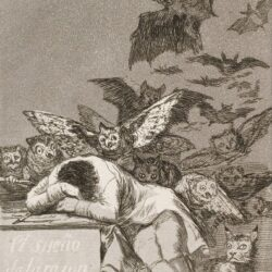 A monochrome etching. A man is at a desk, leaning his head on his arms and facing down. Around him fly owls, bats and other creatures of the night.