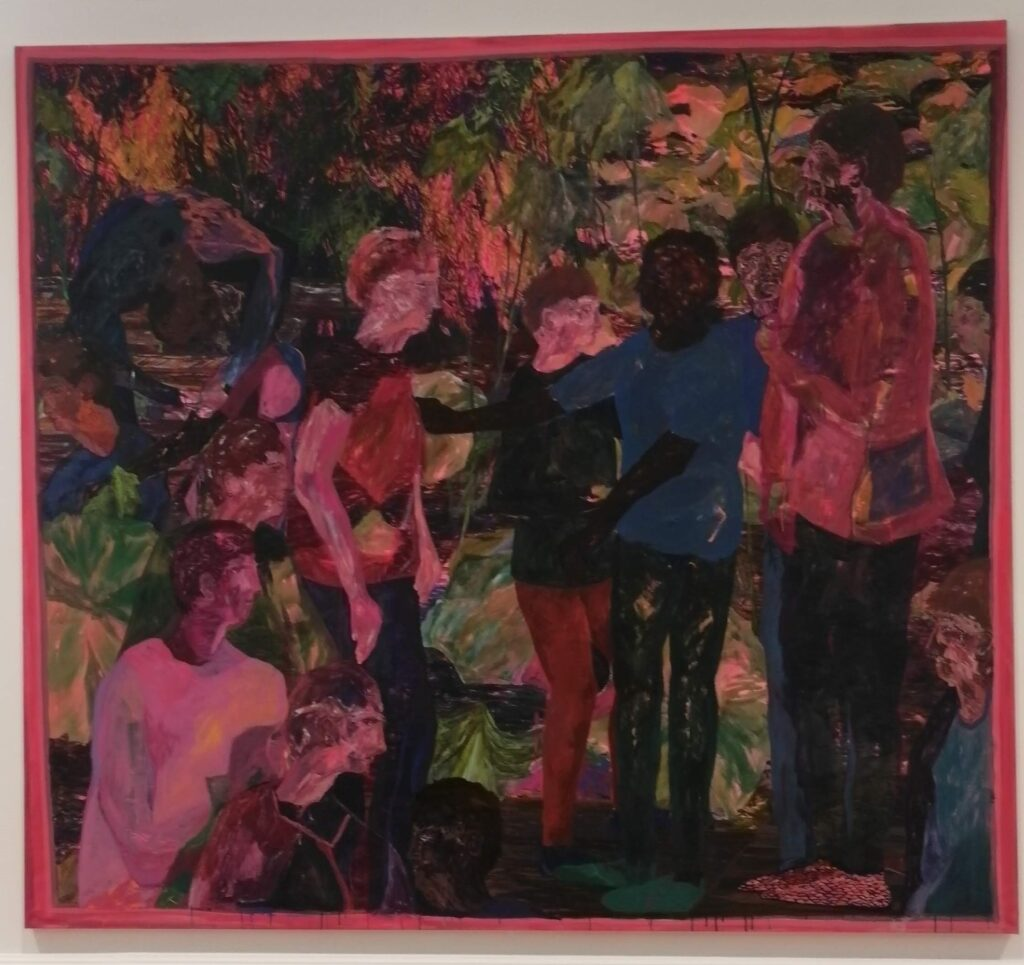 A large square painting mostly in shades of pink and green, depicting a gathering of people.