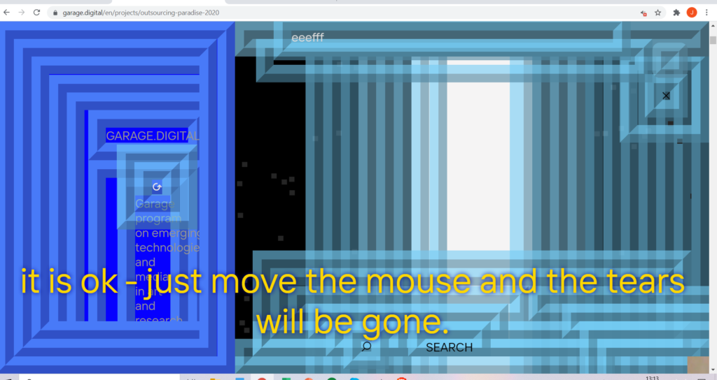 """Screenshot from Outsourcing Paradise of a computer screen covered in lines in geometric patterns and different shades of blue. Yellow text across the bottom (part of a subtitle) reads """"it is ok - just ove the mouse and the tears will be gone"""""""