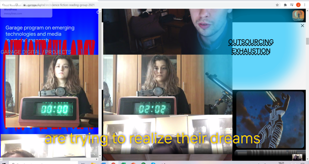 """screenshot from Outsourcing Paradise of a computer screen with several faces and pieces of text arranged and overlapping in random order. We see who very similar images of a young woman with brown hair sitting behind a clock -on one the clock read 00:00, on another 02:02. Yellow text across the bottom (part of a subtitle) reads """"are trying to realize their dreams"""""""